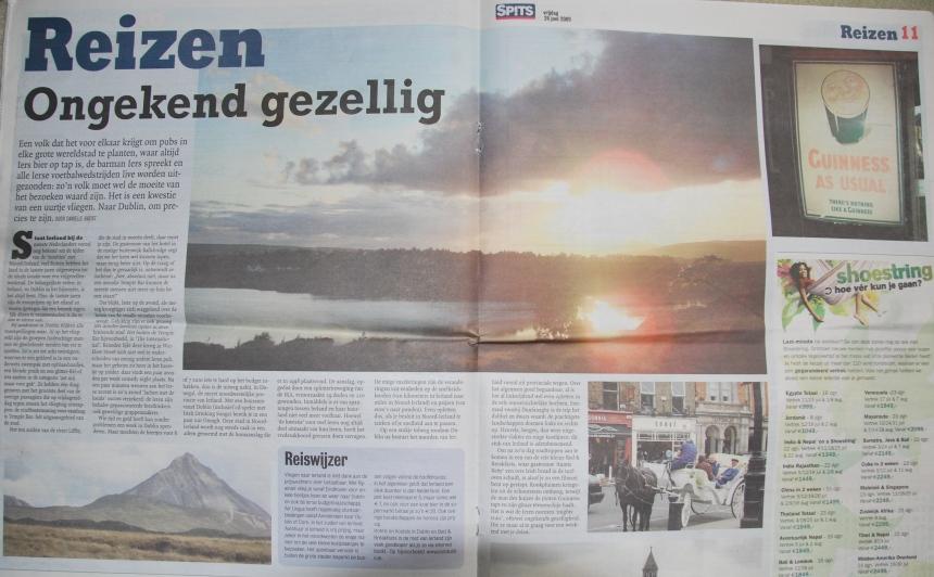 Het artikel op de reispagina's van dagblad Spits, 26 juni 2009