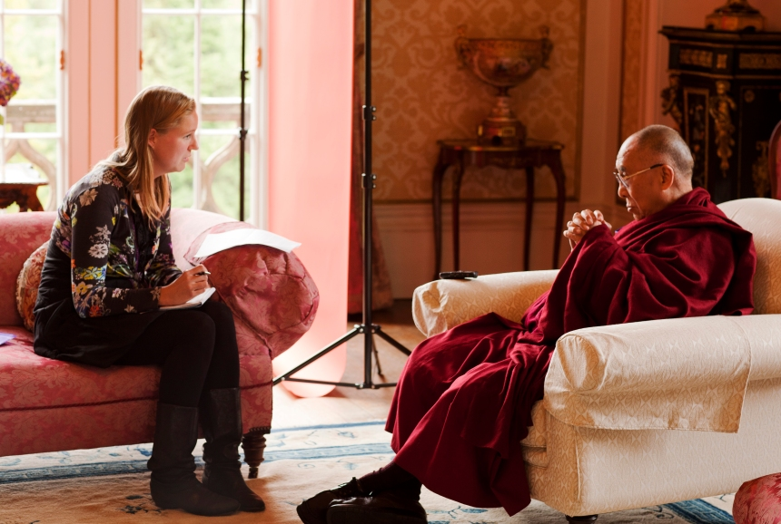 Interview with His Holiness the Dalai Lama in Inverness, Scotland, 23 June 2012.