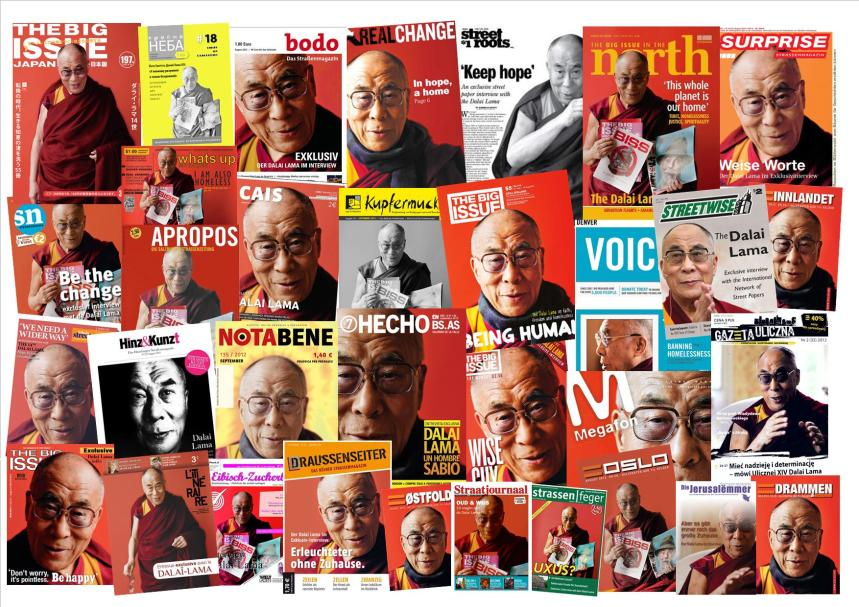 Some of the 72 street magazines who published the Dalai Lama interview.