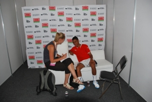 Interviewing  Rabiano Blokstaan from team Namibia at the Homeless World Cup, Mexico City, 11 October 2012