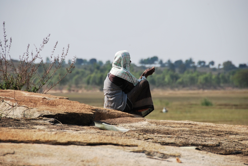 A young woman watches her kettle graze near the village of Yeluvahalli, two hours outside Bangalore, India, 11 January 2012. Photo: Danielle Batist