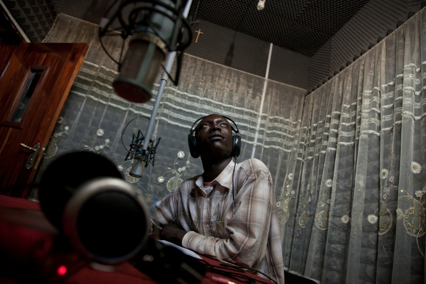 Radio Bakhita presenter Emmanuel Tombe (22) in the studio in Juba, South Sudan.