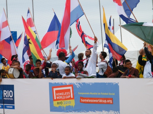 Flags during the opening ceremony of the Homeless World Cup in Rio de Janeiro, Brazil, September 2010. Photo: Danielle Batist